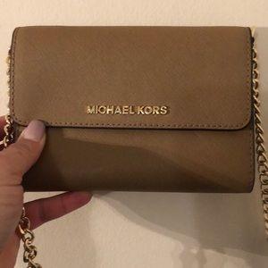 Michael Kors crossbody small purse tan leather